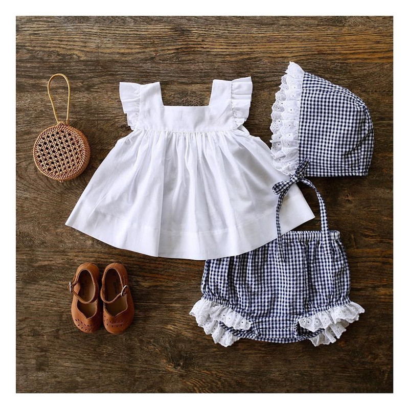 Summer 2019 Kids Baby Fashion Girls Clothing Sets 2 Pcs White T-shirt Top & Plaid Tutu Pants Set For Girls Clothes 0-24M