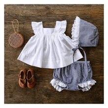 Verão 2019 crianças bebê moda meninas conjuntos de roupas 2 pcs branco camiseta topo & xadrez tutu calças definir para meninas roupas 0-24m