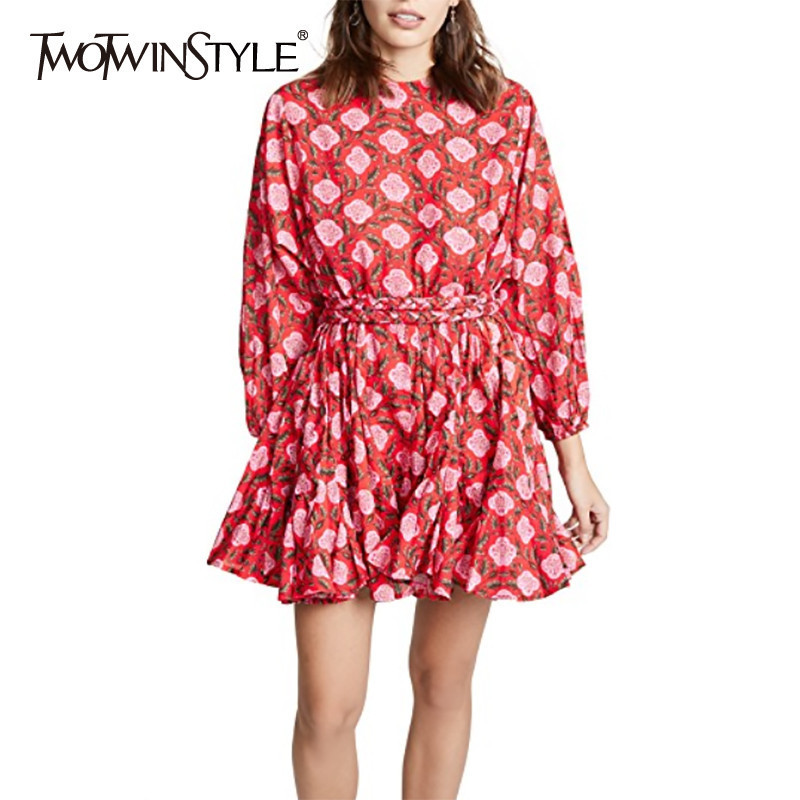 TWOTWINSTYLE Floral Print Dress Women O Neck Long Sleeve High Waist Bandage Hit Color Female Dresses
