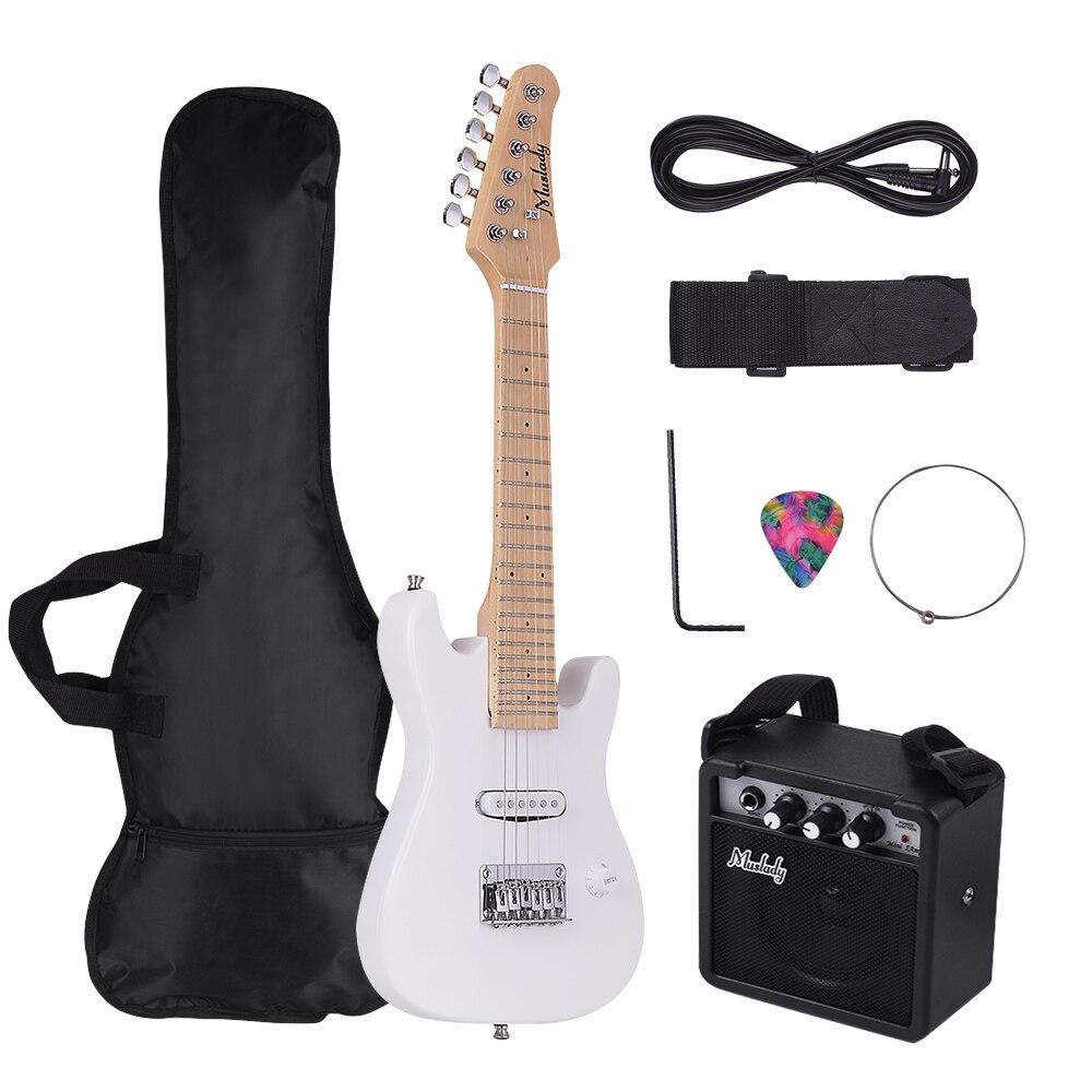 Muslady 28 pouces ST guitare électrique Kit érable cou avec amplificateur guitare sac sangle Pick chaîne Audio câble Style droitier