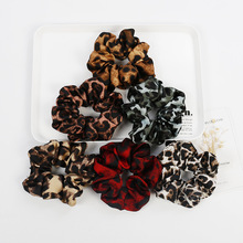 2 PIECES Scrunchies For Women New Spring Summer Ribbon Hair Bands Leopard Print Pony Tail Tie Large Fabrics Elastic Rubber 2019