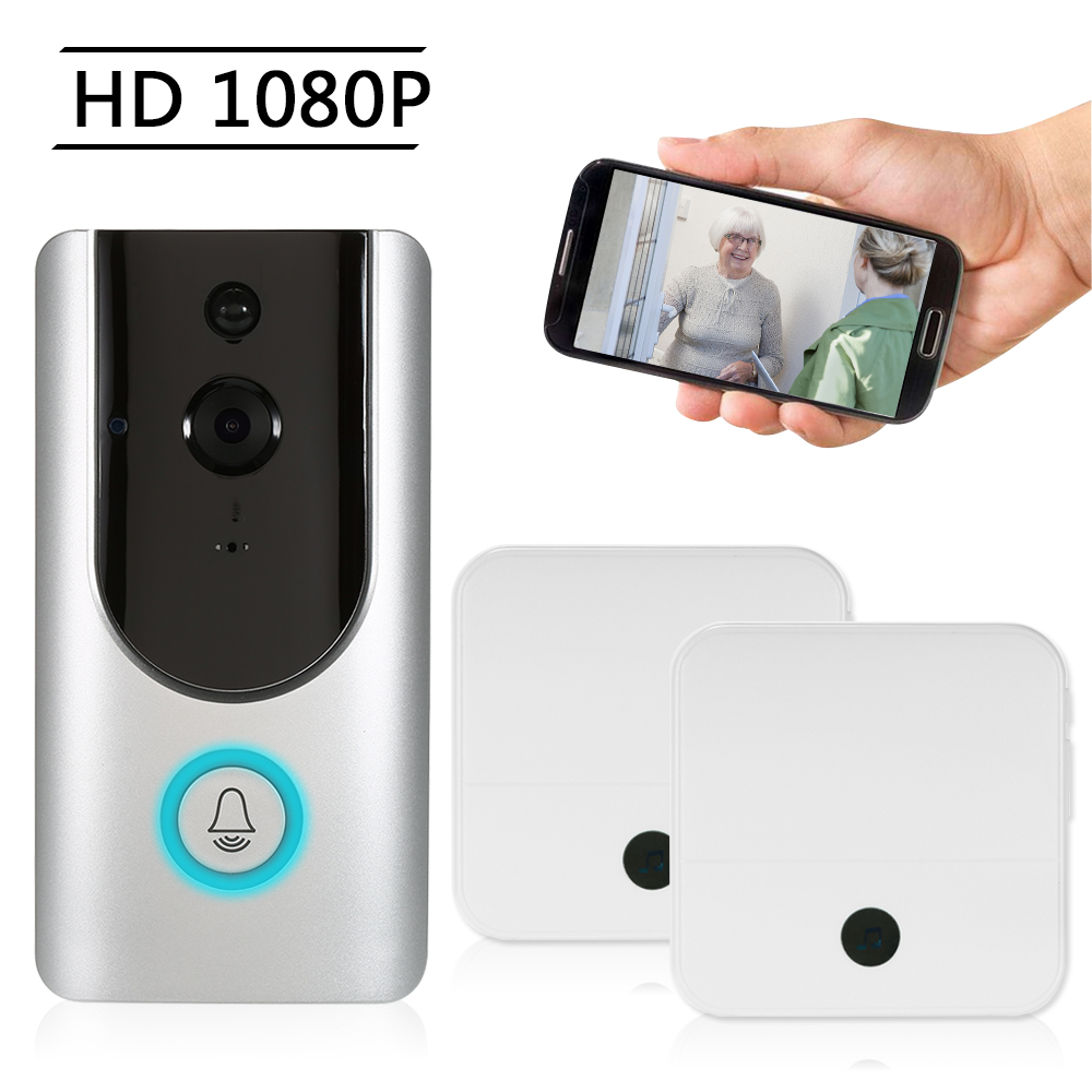 HD 1080P WiFi Smart Wireless Security Doorbell with 2PCS 18650 Batteries Smart Visual Intercom Recording Video