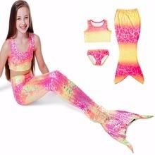 3 Pcs/girl Cosplay Mermaid Tail Custome Baby Girl Kids Maid Tail Fancy Green Dress Swimmable Bikini Set Sexy Bathing Suit 3-8y