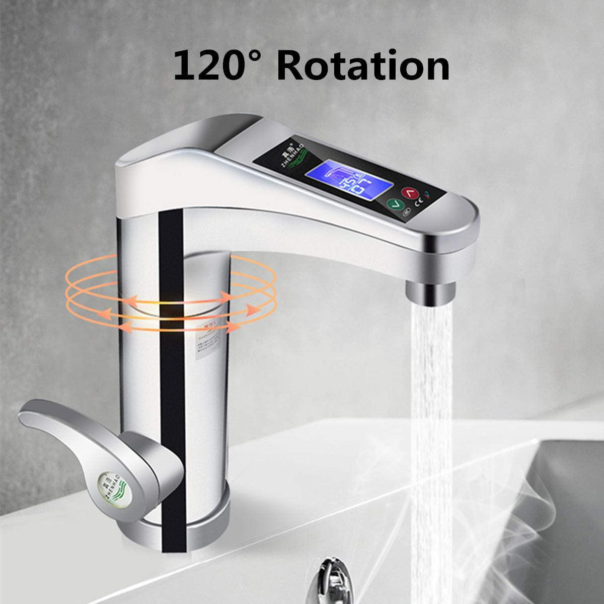 LED Electric Faucet Tap Hot Water Heater Instant Hot Cold Water Faucet Home Bathroom Kitchen Heating Supplies 220V 2 Colors