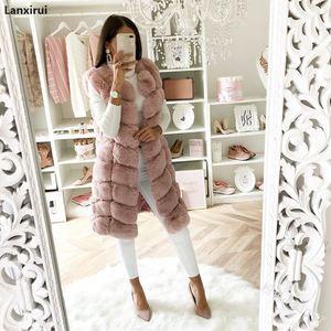 Image 2 - Warm Faux Fur Fox Vest Women Winter Casual Artifical Fur Warm Coat Super X Long Waistcoat Female Faux Furs Wholesale