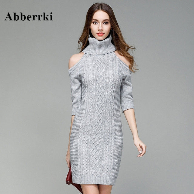 b9fd6de4b6e29 Fashion Winter Autumn Women Solid Half Sleeve Turtleneck Sweater Pullover  Long Knitted Dress New Design Bare Shoulders Sweaters