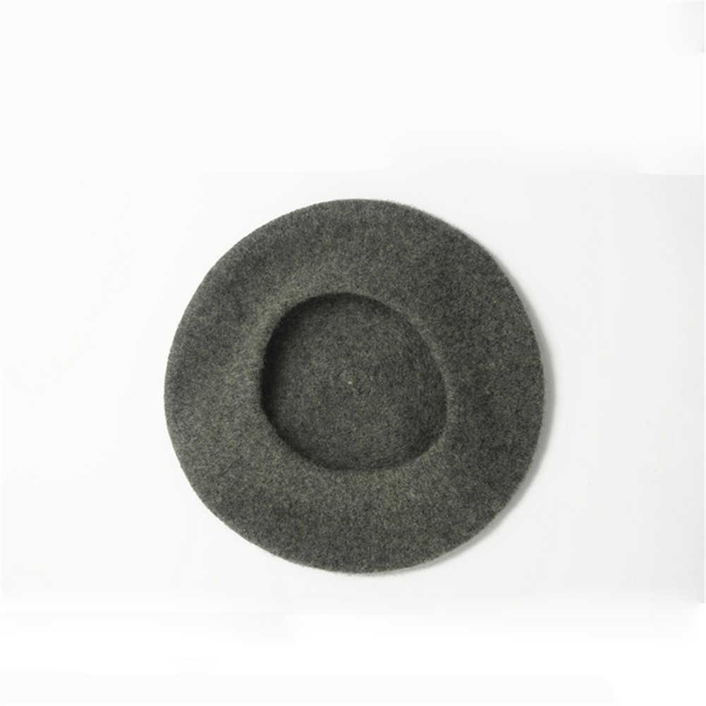 2019 หมวกสีดำหญิงสาววินเทจสตรีศิลปินฤดูหนาว WARM Beret Beanie Light สีน้ำตาลหมวกหมวกแฟชั่นหมวก Charms หัวแข็งสวมใส่