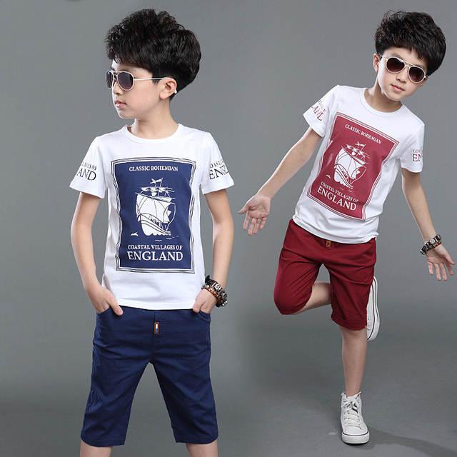 7fa7aebd736c placeholder Kids Cloths Sets for Boy Short Sleeved T-shirt+pants Sport Sets Child s  Summer