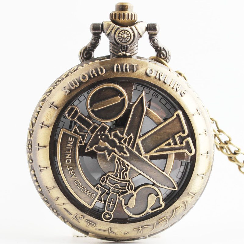 Pocket & Fob Watches  Anime Cosolay Sward Art Online Quartz Pocket Watch with Necklace Chain for Women/Men Gift