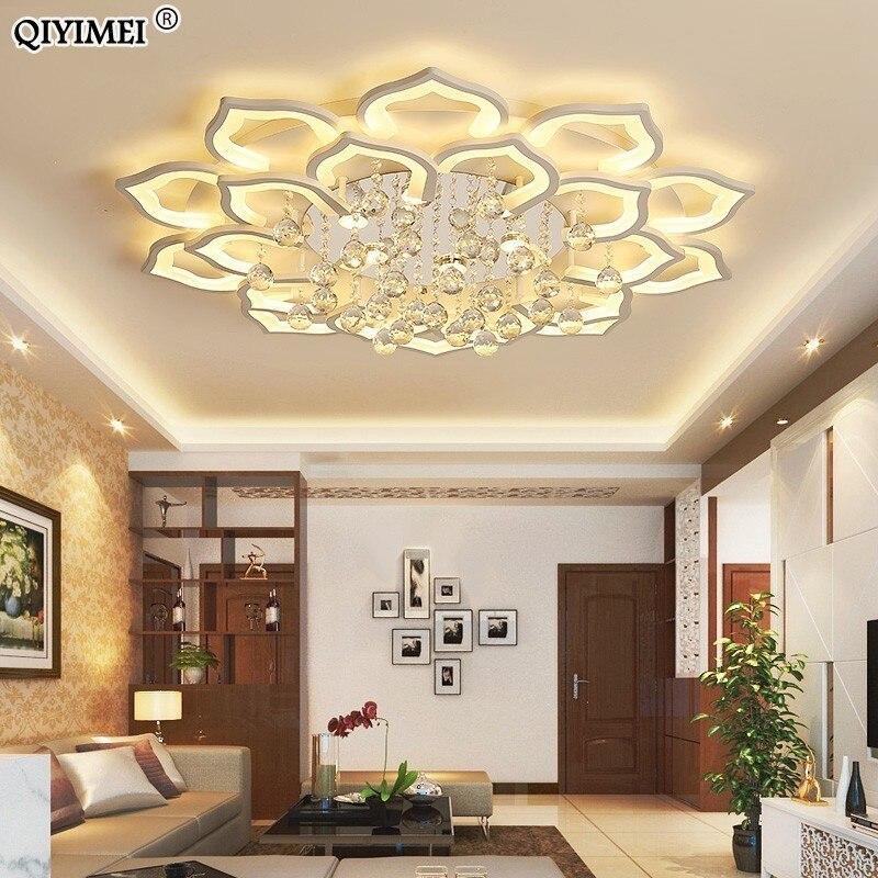 White Acrylic Modern Chandelier Lights For Living Room Bedroom remote control Led indoor Lamp Home dimmable Lighting Fixtures de リビング シャンデリア