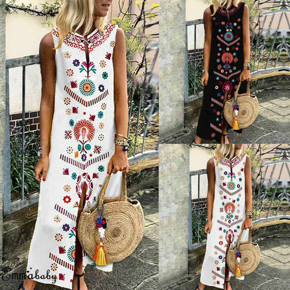 SELX-Women Boho Split High Low Sleeveless Beach Floral Maxi Romper Dress