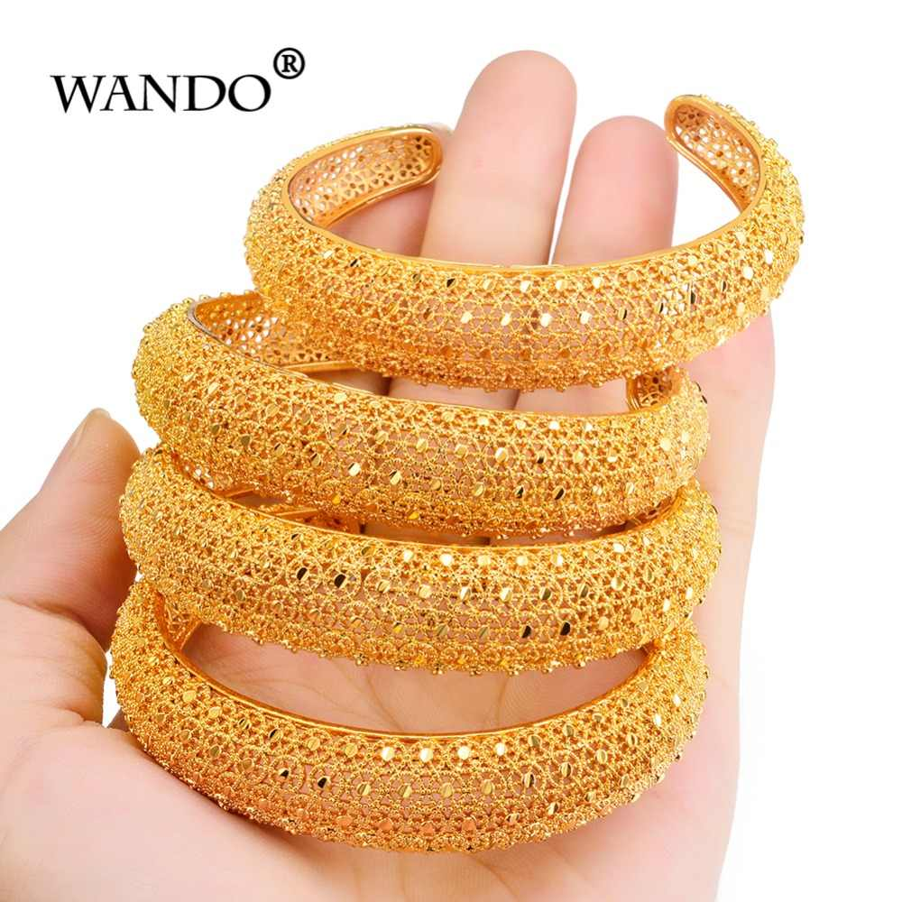 WANDO Newest 4pcs/lot Ethiopian Jewelry Gold Color Bangles Dubai Gold Bangles For African Cuff Bracelets For Women Gifts b141