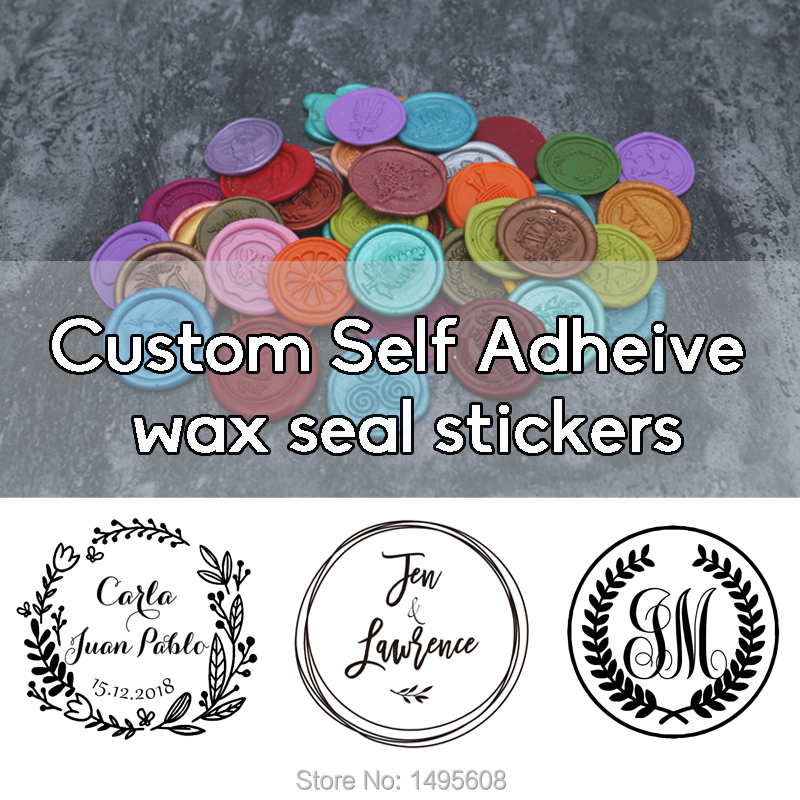 Custom Self Adhesive Wax Seal Stickers, Wedding Wax Stamp, Envelope Seal,  Invitation Stickers ,23 Color Available