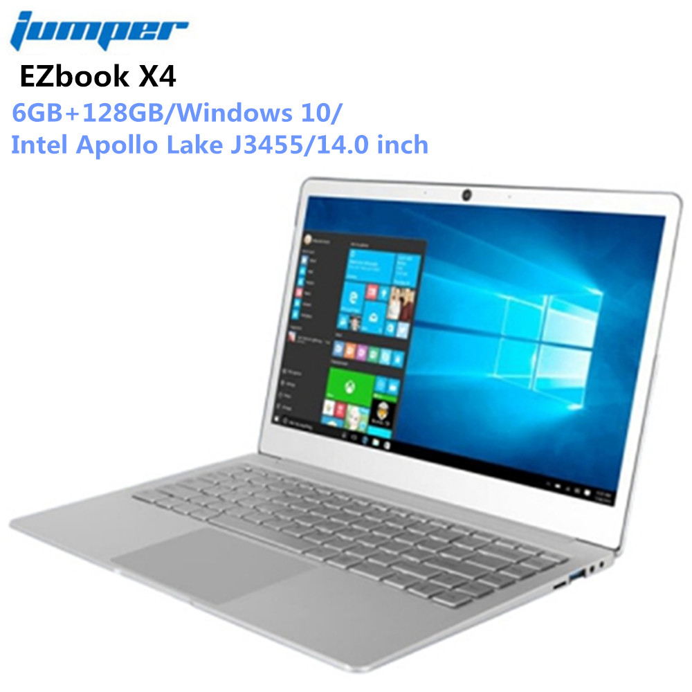 Jumper EZbook X4 Portable 14 pouces IPS ordinateur portable Windows 10 Intel Celeron J3455 6G 128 GB ultrabook 2.4G /5G WIFI clavier rétroéclairé