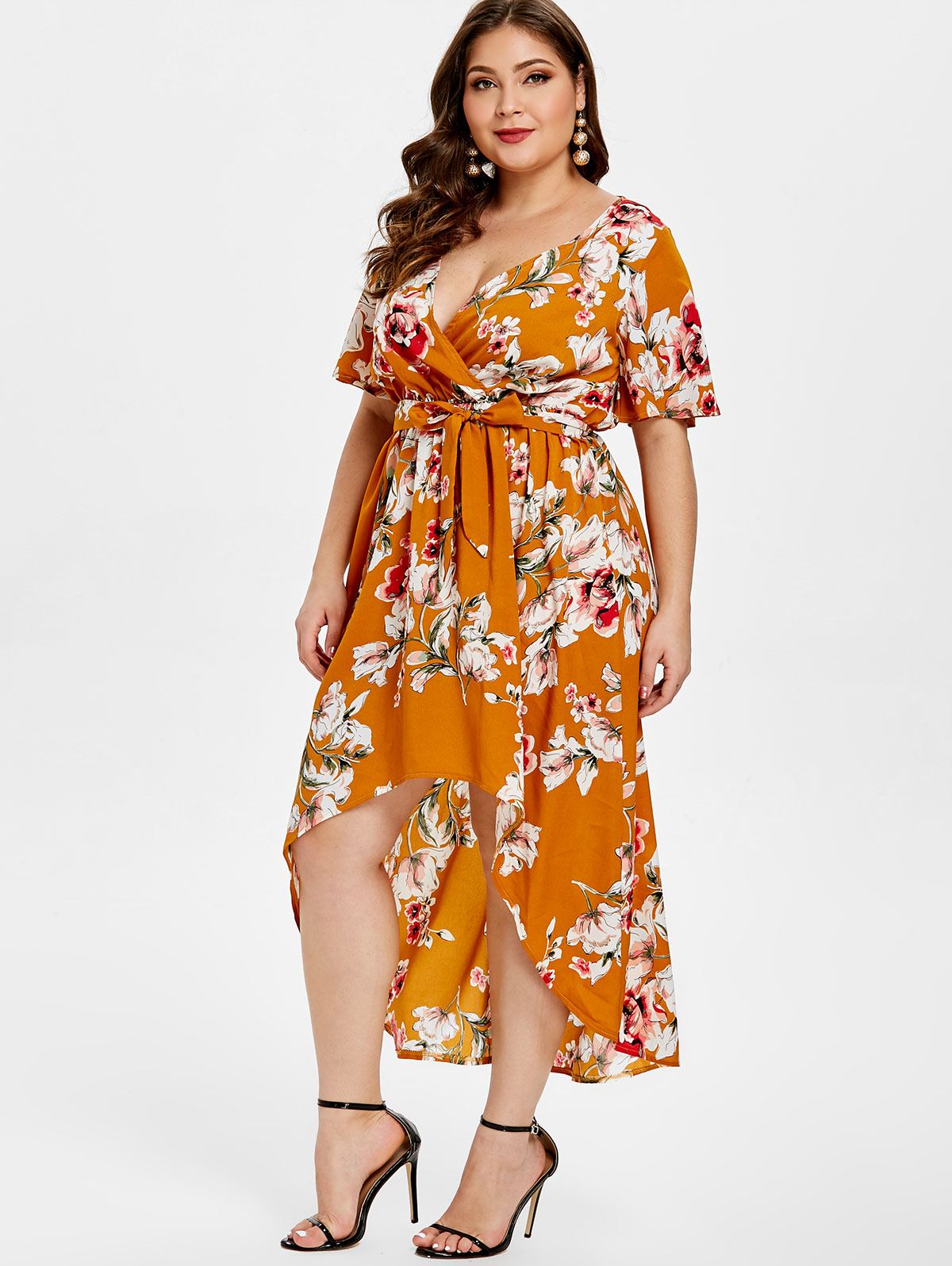 Wipalo Women Plus Size Floral Print High Low Dress Short Sleeve V Neck  Belted Bow Causal aea7f228cd5b