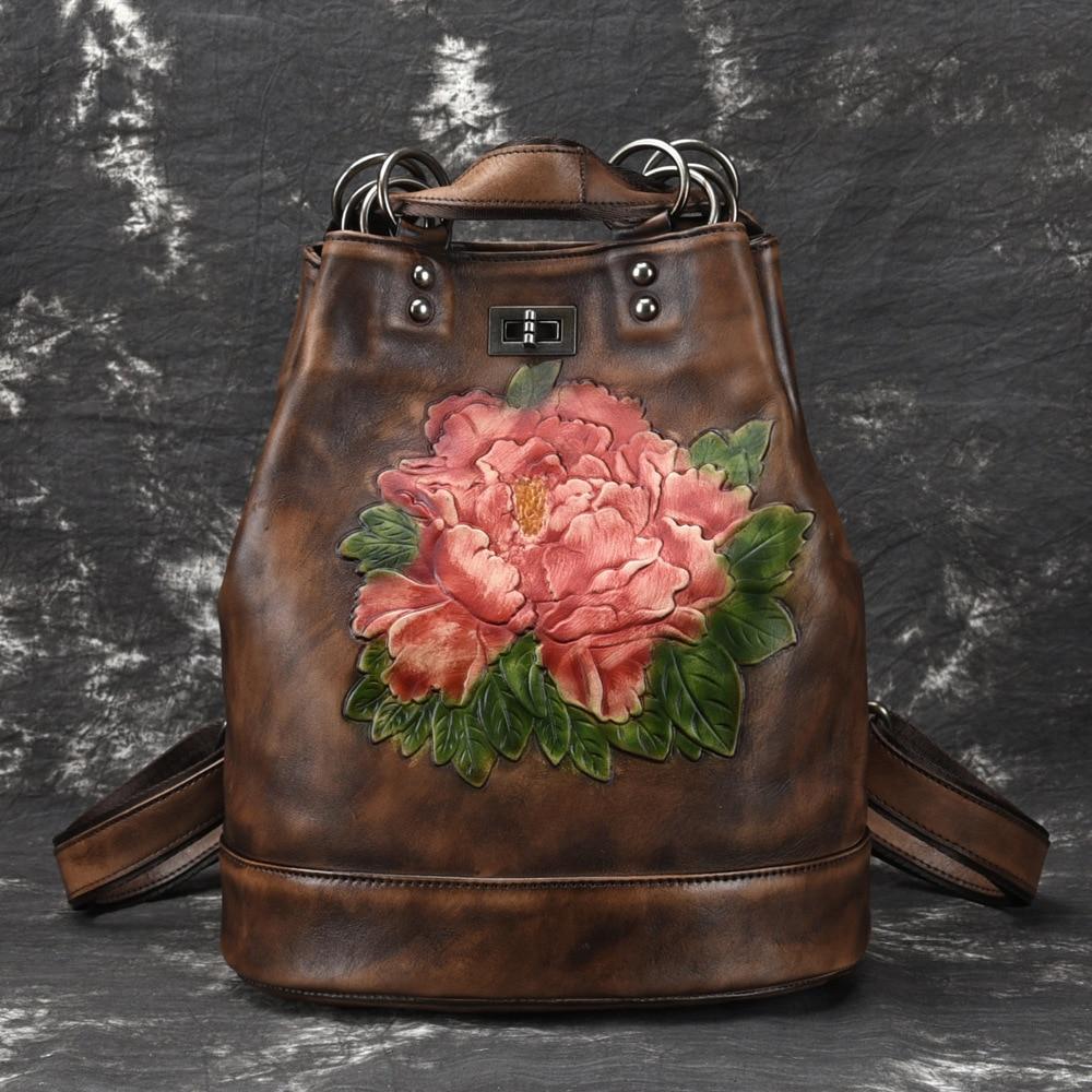 Mochila de Couro Genuíno em Relevo Bolsa de Ombro Real do Vintage Alta Qualidade Feminina Floral Mochila Viagem Daypack