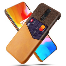 for OnePlus 7 Pro Back Case Ultra Thin High-Grade PU Leather Armor Soft Fabric Splicing Shockproof Case with Card Pocket Fundas
