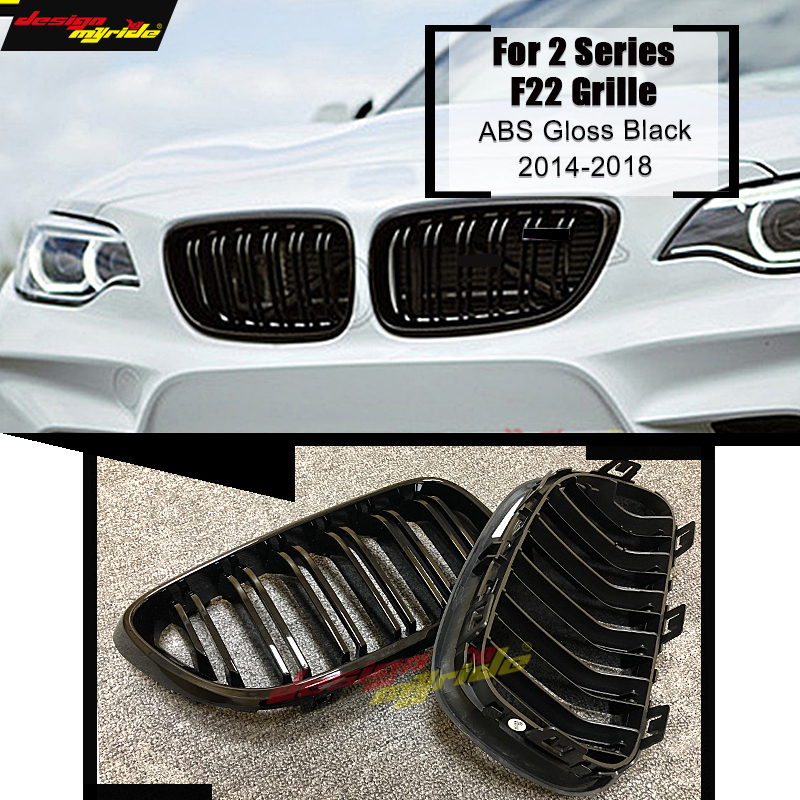 1 Pair F22 2-slats Front Bumper Grille For F22 220i 228i 235i M2 ABS Material Gloss Black Front Kidney Grille Decoration 2014-in1 Pair F22 2-slats Front Bumper Grille For F22 220i 228i 235i M2 ABS Material Gloss Black Front Kidney Grille Decoration 2014-in