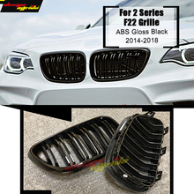 1 Pair F22 2-slats Front Bumper Grille For 220i 228i 235i M2 ABS Material Gloss Black Kidney Decoration 2014-in