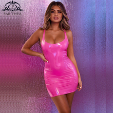 Parthea Elastic Pink Bodycon Dress Women Elegant Sleeveless Sexy Ladies Chic Brief PU Leather Mini Female Vestidos