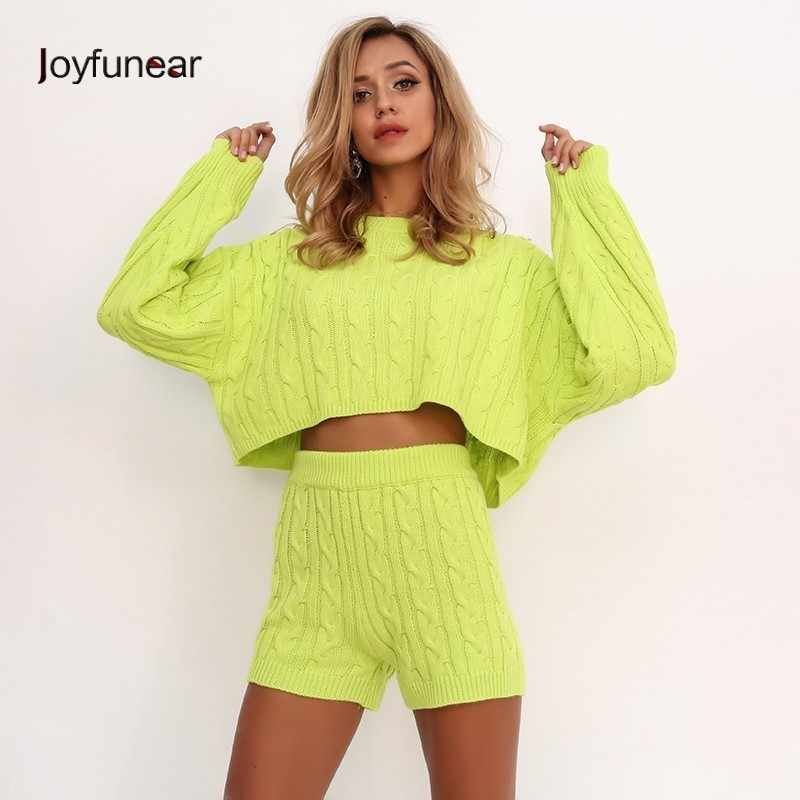 6f6a5799cb311b Joyfunear Bodycon Sexy Knitted Two Piece Set Chandal Mujer Long Sleeve  Tracksuit For Women Jumpsuit 2