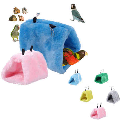 Plush Hammock Hanging Cave Cage Hut Snuggle Tent Bed Bird Parrot Conure  Nest Bird Toy