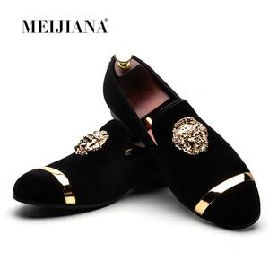 Image 1 - Мужские лоферы без застежки MEIJIANA, черные повседневные кожаные туфли, модная брендовая Свадебная обувь, большие размеры, 2019