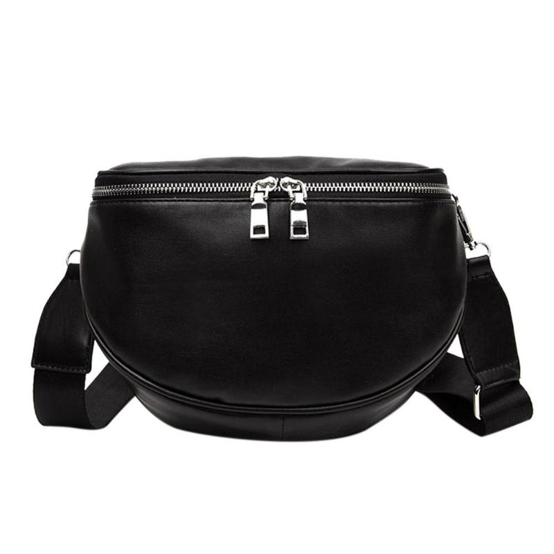 Women PU Leather Waist Bag Casual Belt Shoulder Zipper Crossbody Chest Bag