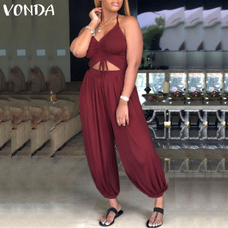VONDA Rompers Womens   Jumpsuit   2019 Sexy Sleeveless Backless Halter Hollow Solid Playsuit Casual Harem Pants Plus Size Overalls