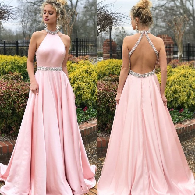 2019 Prom Dresses Long Elegant A Line Halter Beaded Pink Formal Party Dress Sexy Backless Party
