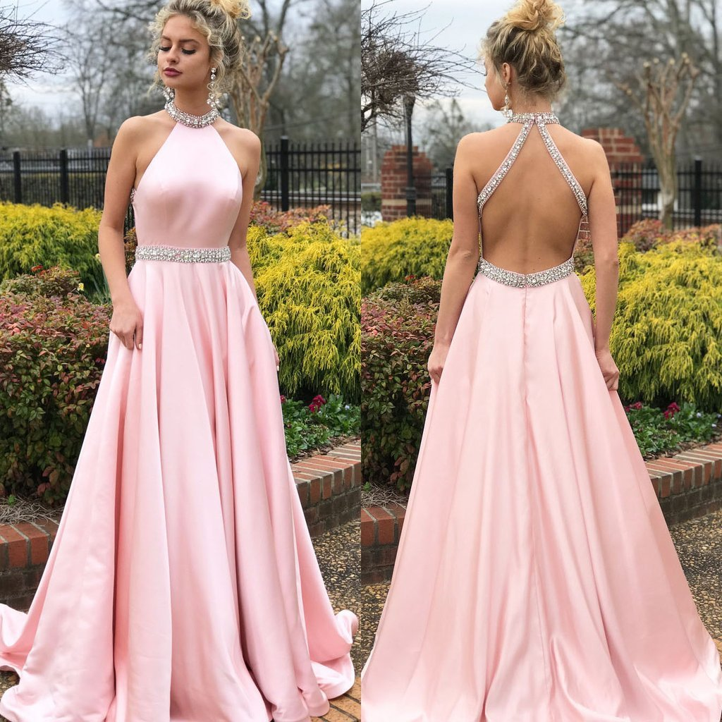 2019   Prom     Dresses   Long Elegant A Line Halter Beaded Pink Formal Party   Dress   Sexy Backless Party Gowns Vestidos Cerimonia Longos