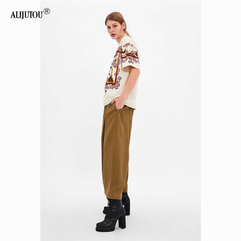 ceda543746298 Zaraing crossover Porky Pig Cartoon Short sleeve Tshirt For Women 2019  summer Cute Casual Tops Female Print Tees O Neck T-shirts