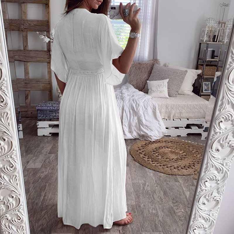 קיץ Boho לבן ארוך חולצה סקסי לראות דרך נשים מזדמן חג חוף כיסוי למעלה גבירותיי קפלים קימונו קרדיגן למעלה קרם הגנה