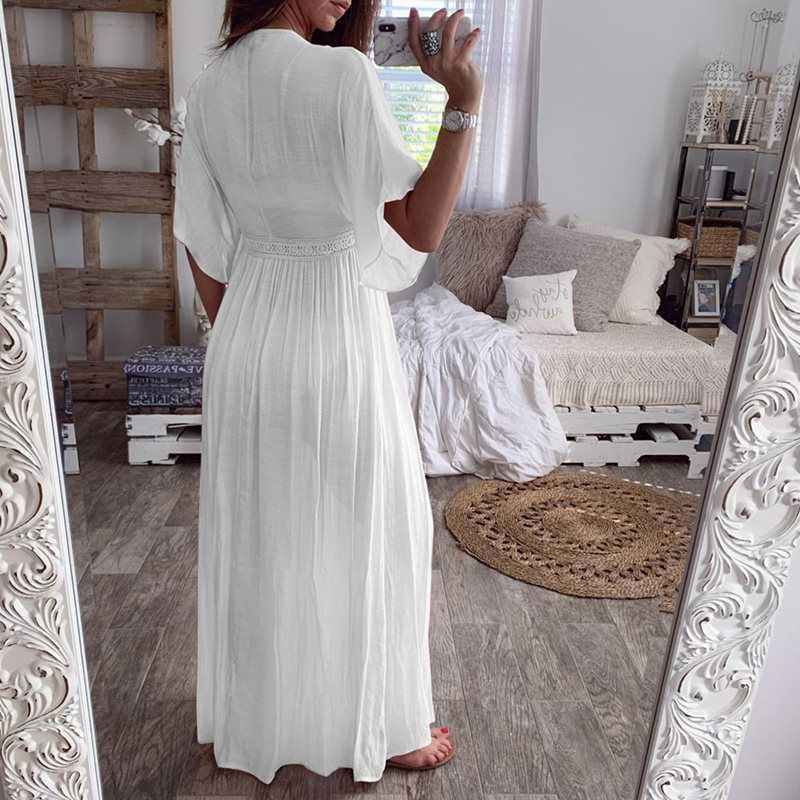 Summer Boho White Long Blouse Sexy See Through Women Casual Holiday Beach Cover Up Ladies Pleated Kimono Cardigan Top Sunscreen