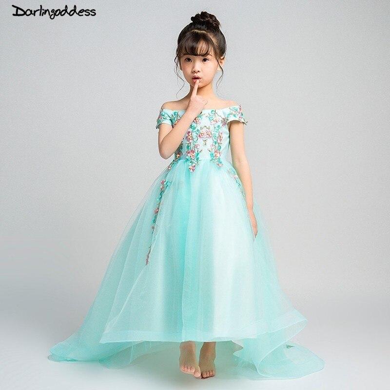 Mint Green Short Front Long Back Flower Girl Dress 2019 Lace Appliques First Communion Dress for Little Kids Girls Pageant Dress