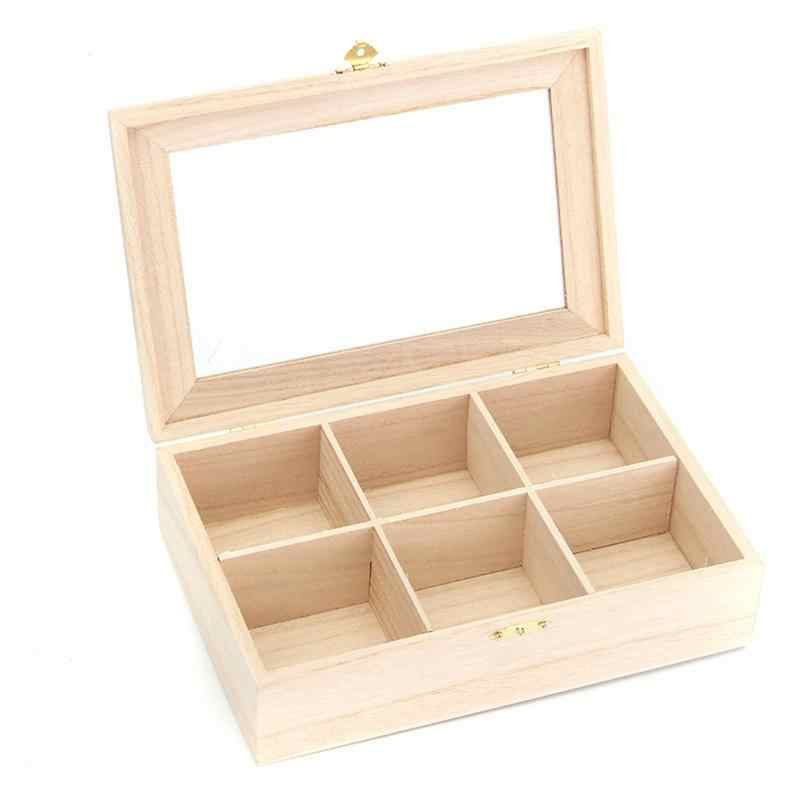 Jewelry organizer Storage Box 6 Compartments Tea Box Natural Wood Tea Bag Durable Wood Sugar Gift Boxes Packet Container