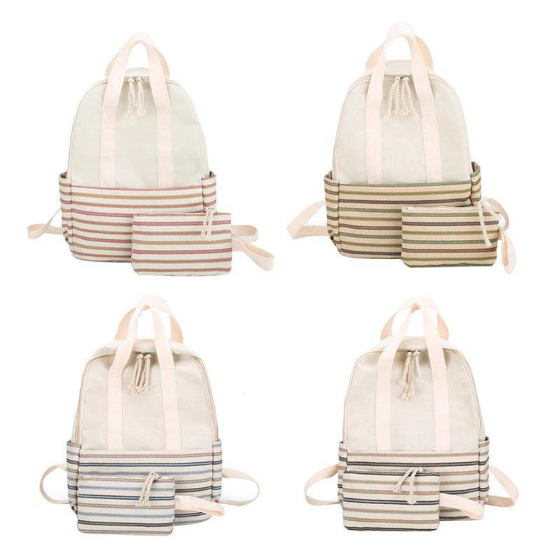 2pcs/Set Striped Canvas Backpack Women Schoolbags Clutch Travel Rucksack2pcs/Set Striped Canvas Backpack Women Schoolbags Clutch Travel Rucksack