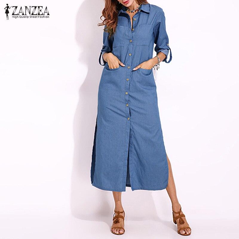ZANZEA 2020 Women's Sundress Plus Size Denim Dress Shirt Dresses Spring Button Maxi Vestido Female Split Lapel Party Robe Femme