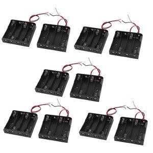 Проводная 4x1,5 V AA батарея держатель пластиковый корпус коробка для хранения 10 шт черный