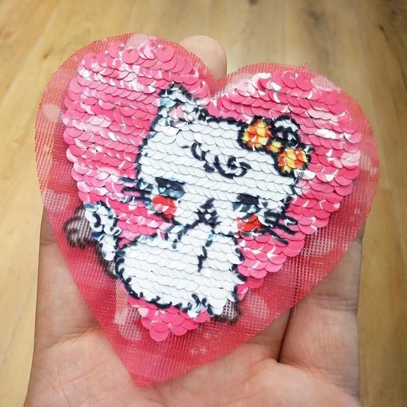 Pulaqi すべての新しいスパンコールユニコーン猫アイアンでパッチ服アイスクリームパッチ DIY キッズアクセサリーオーナメントについて女性の装飾アクセサリ F