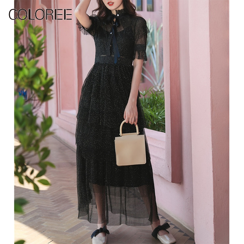 COLOREE Vintage or pailleté longue robe 2019 été noir élégant à volants cou maille Perspective robe de gâteau