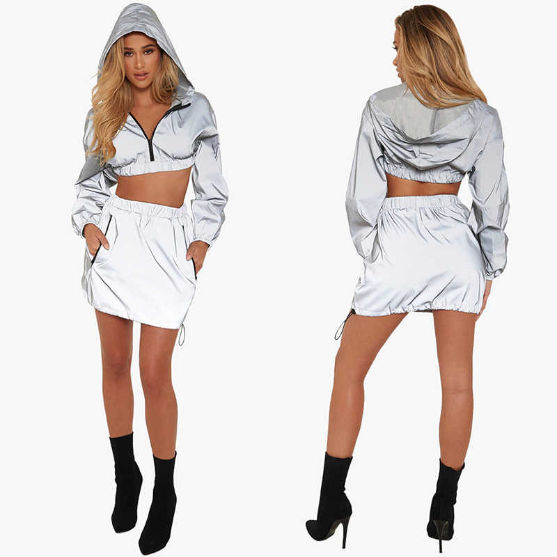 7ae2641239 ... Sexy Women Reflective TWO PIECE SET Skirt Tracksuit Runway Top Hoodies  Sparkly Mini Dress Elegant Matching ...