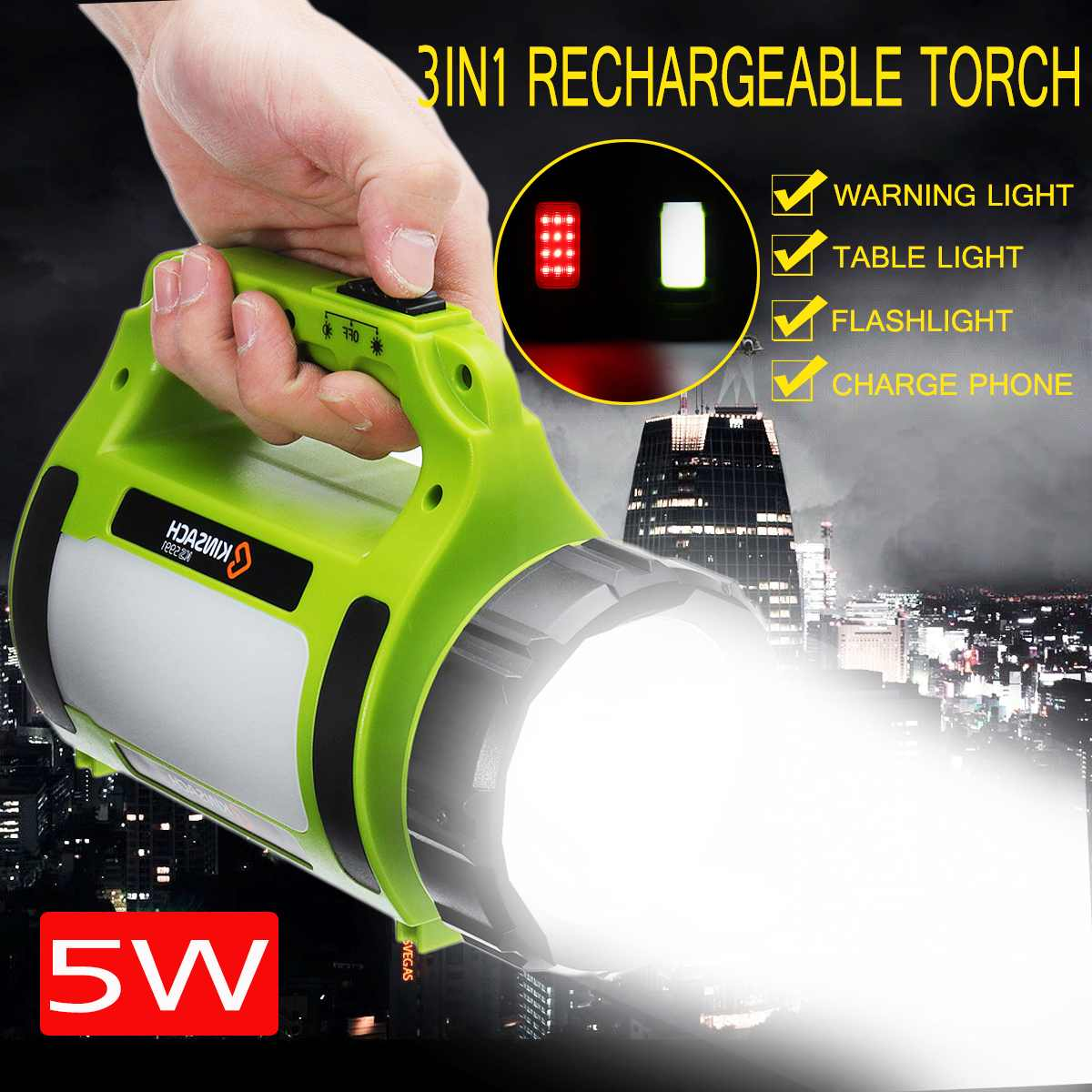 Portable light rechargeable led spotlights camping tent lantern searchlight hand held spotlight lamp with side light Power Bank