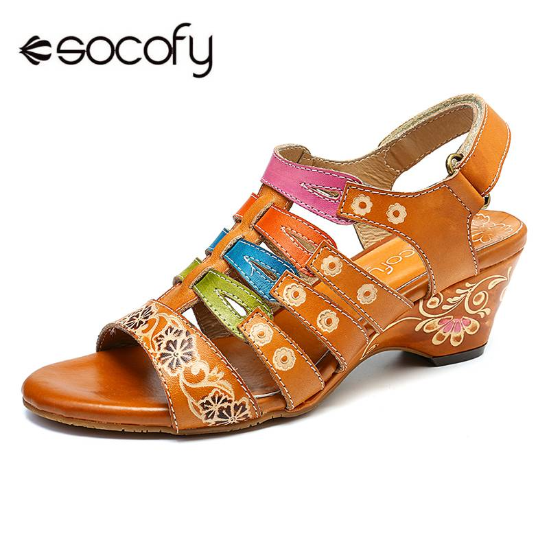 SOCOFY Flowers Stitching Hollow Color Stripes Genuine Leather Splicing Soft Hook Loop Sandals Summer Shoes Elegant Ladies ShoesSOCOFY Flowers Stitching Hollow Color Stripes Genuine Leather Splicing Soft Hook Loop Sandals Summer Shoes Elegant Ladies Shoes