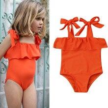 Новинка года; одежда для купания для маленьких девочек; летнее цельное бикини пляжный купальник с оборками Одежда для маленьких девочек; От 0 до 5 лет