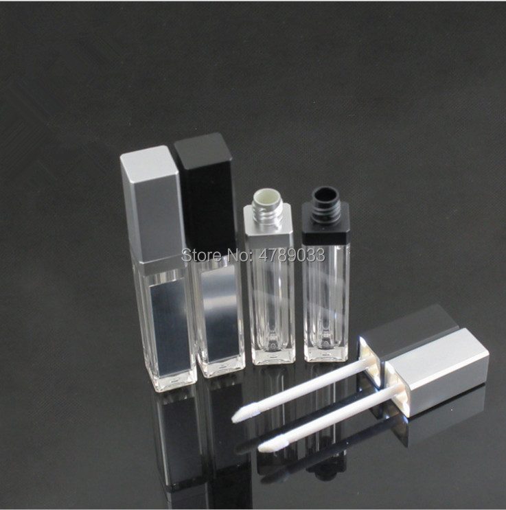 20pcs 7 5ml Black Silver Square Empty Lipstick Lip Gloss Tubes Clear Cosmestic Packaging Container with