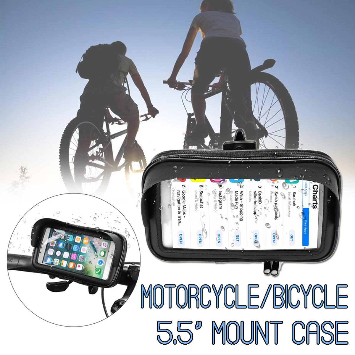 Waterproof 5.5 inch Universal Bicycle Bike Phone Holder Case PU Motorcycle Handlebar Mount Stand Bracket For Samsung For iPhoneWaterproof 5.5 inch Universal Bicycle Bike Phone Holder Case PU Motorcycle Handlebar Mount Stand Bracket For Samsung For iPhone