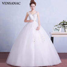 VENSANAC 2019 Illusion Pearls V Neck Lace Appliques Ball Gown Wedding Dresses Crystal Sash Backless Bridal Gowns