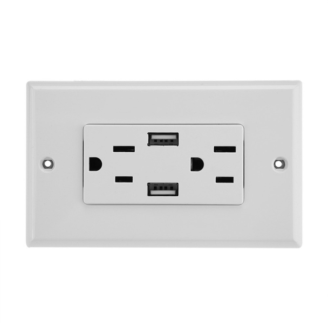 Double Outlet Power Supply Socket Strip Receptacle with DC 5V 2.4A Dual USB Wall Charger HOT Wholesale