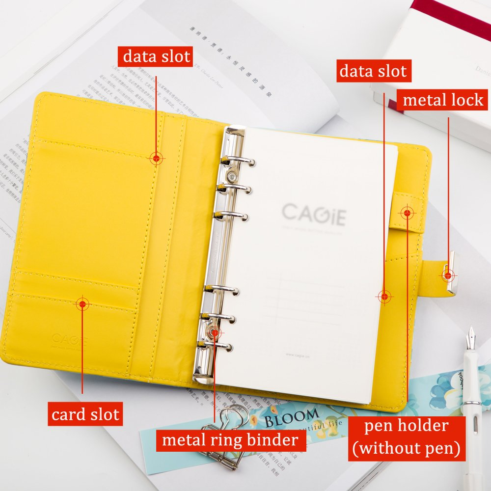 Lock Journal Binder Diary Notebook A6 Refillable 6 Ring Locking Diary Faux Leather Cute Flowers 160 Pages Personal Journal